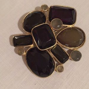 Gorgeous smoky grey and amethyst brooch